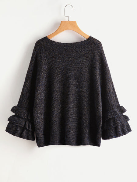 Black Glitter Frill Trim Bell Sleeve Jumper