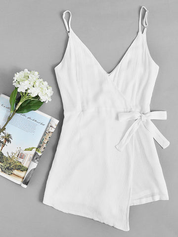 Plain Ivory Surplice Knot Side Pleated V-Neck Cami Straps Sleeveless Romper