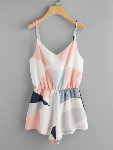 Multicolor Colorblock Cami Straps Sleeveless Elasticized Waist Romper