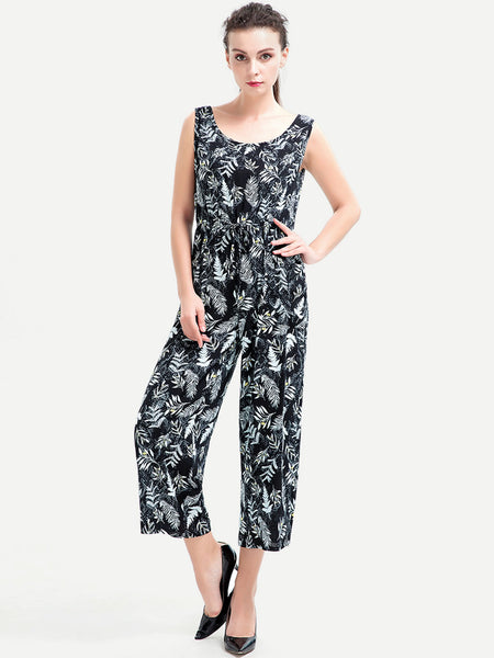 Black Overall Leaves Print Sleeveless Round Neck Tie Detail Jumpsuit