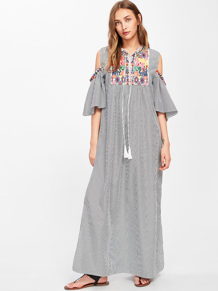 Black Tassel Tie Pinstripe Aztec Embroidered Cold Shoulder Dress