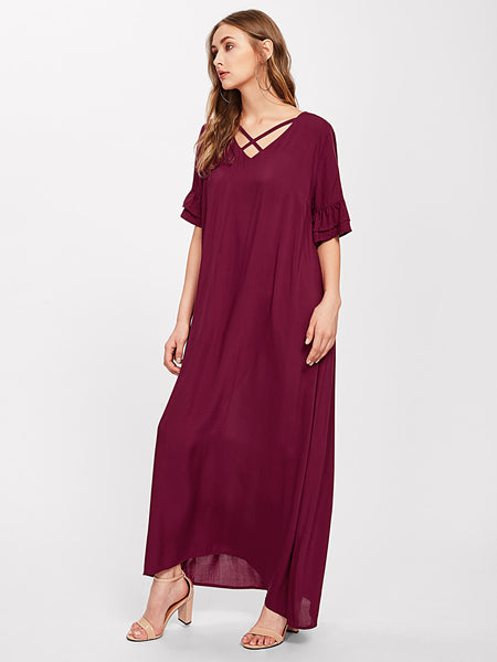 Burgundy Cross V-Neckline Tiered Frill Sleeve Maxi Dress