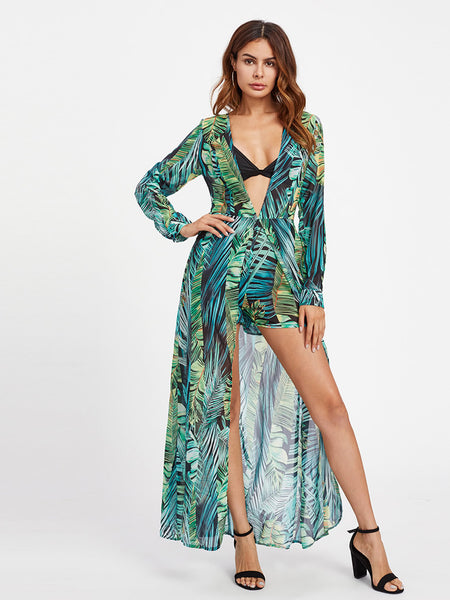 98ba60f674 Green Plunging Tropical Print Long Sleeve Deep V-Neck Overlay Romper ...