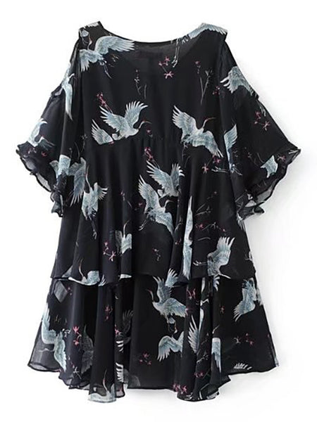 Black Bird Design Bell Sleeve Cold Shoulder Ruffle Layered Dress