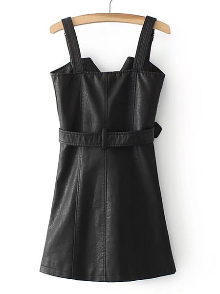 Black Thick Adjustable Strap Oblique Zipper PU Dress