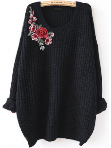 Black Flower Embroidered Patch Loose Sweater