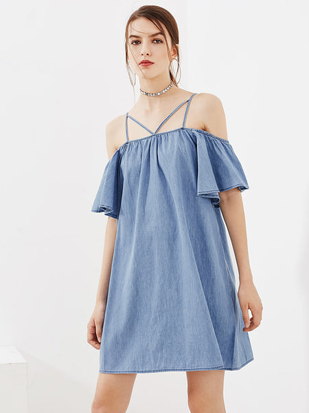 Blue Strappy Cold Shoulder A-Line Dress