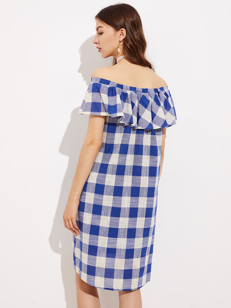 Blue Off Shoulder Flounce Checkered A-Line Dress