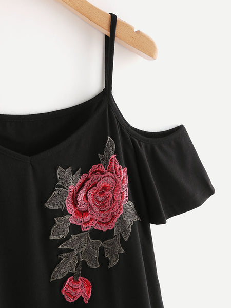 Black V-Neck Flower Embroidered Applique Open Shoulder A-Line Dress