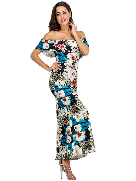 Black Random Floral Print Layered Off Shoulder Maxi Dress