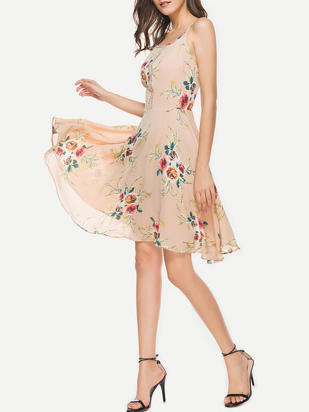 Apricot Floral Print Thin Adjustable Strap Hollow Lace Swing Dress