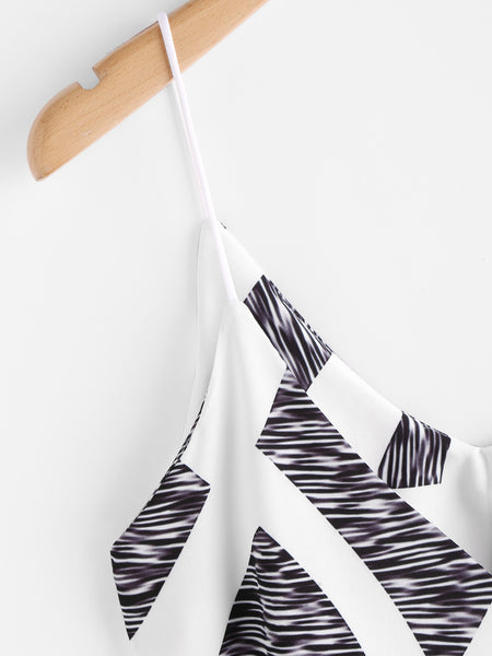 Black and White Abstract Print Spaghetti Strap V-Neck Cami Dress