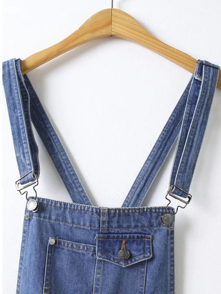 Blue Denim Rolled Hem Ripped Sleeveless Straps Overall Shorts
