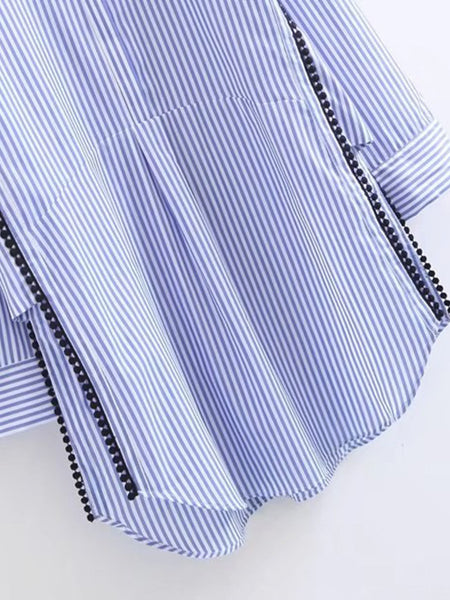 Blue Pinstripe High Neck Dotted Crochet Split Side Shirt Dress
