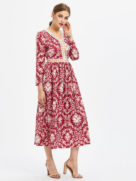 Red Baroque Pattern Long Sleeve Hollow Out Dress