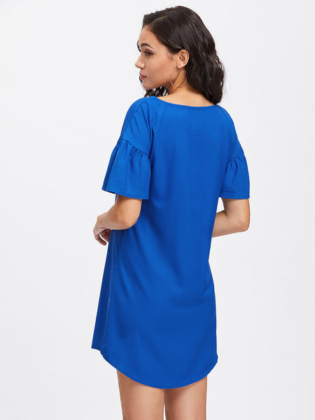 Blue Round Neck Drop Shoulder Curved Hem Dress