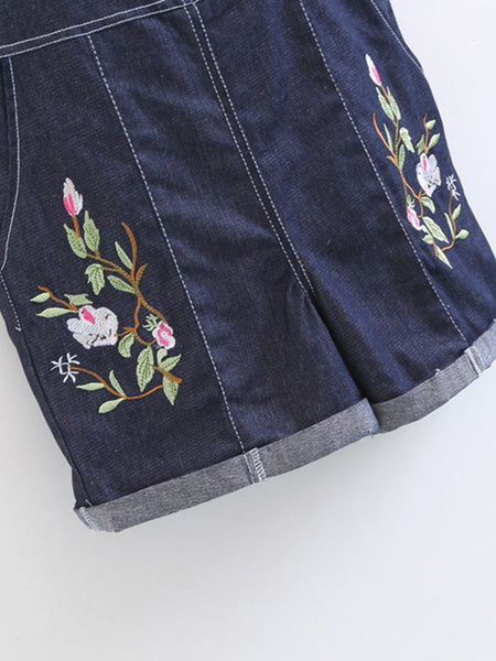 Blue Denim Rolled Hem Floral Embroidery Straps Sleeveless Overall Romper
