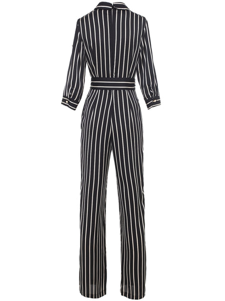 Black Striped V-Neck 3/4 Sleeve Tie Waist Jumpsuit