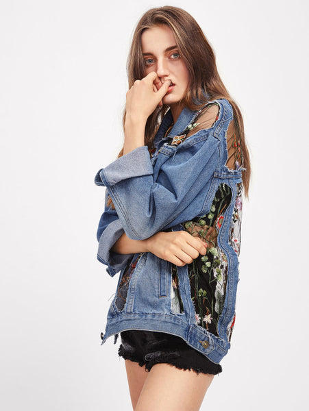 Blue Embroidered Mesh Insert Denim Jacket