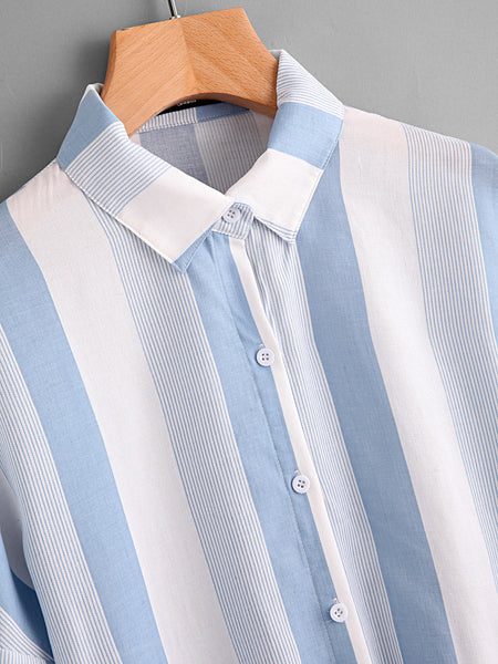 Blue Vertical Stripe Roll Tab Sleeve Knot Front Blouse