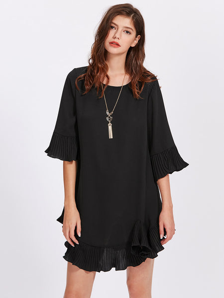 Black Bell Sleeve Electric Pleated  Trim Mini Dress