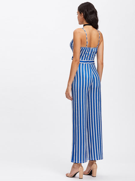 Blue Vertical Striped Bow Tie Cut Out Front Cami Straps V-Neck Sleeveless Jumpsuit