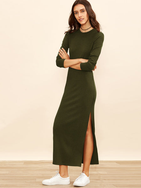 Army Green Rib Knit Column Side Slit Dress