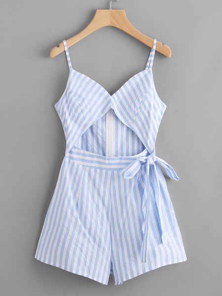 Blue Striped Keyhole Cami Straps Cut Out Front Sleeveless Tie Waist Detail Romper