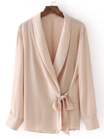 Apricot Shawl Collar Self-Tie Wrap Long Sleeve Top