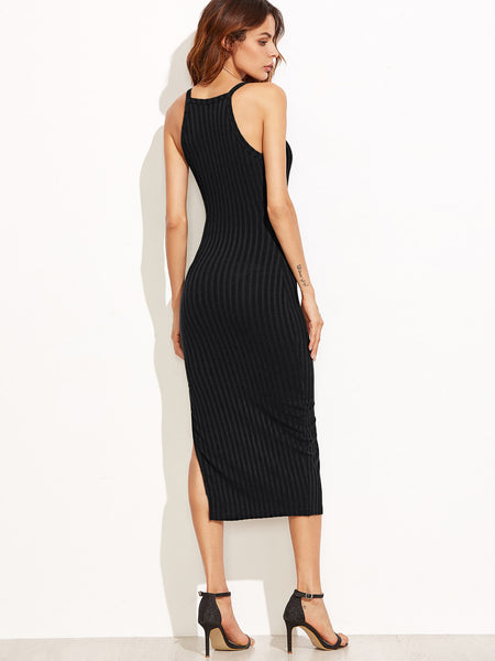 Black Halter Back Ribbed Side Slit Bodycon Dress