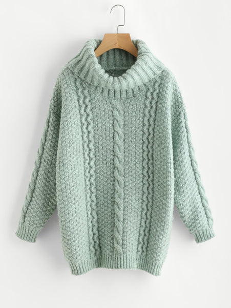 Green Turtle Neck Oversized Chunky Jumper