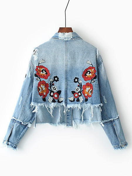 Blue Denim Jacket High Low Flower Embroidery Frayed Detail