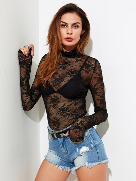 Black High Neck Long Sleeve Thumb Hole Detail Lace Top