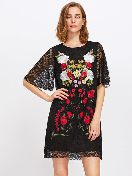Black Round Neck Flutter Sleeve Embroidered Lace Dress
