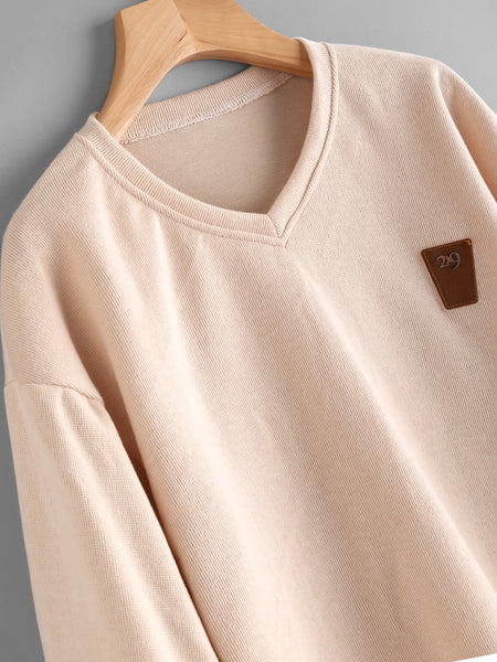 Apricot Lantern Sleeve Patch With V Neckline Sweatshirt