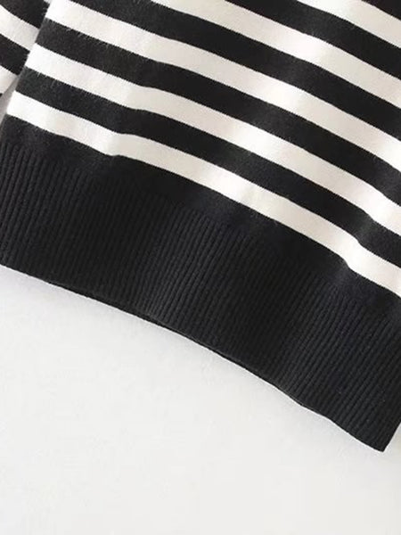Black and White Striped Button Shoulder Ribbed Trim Knitwear