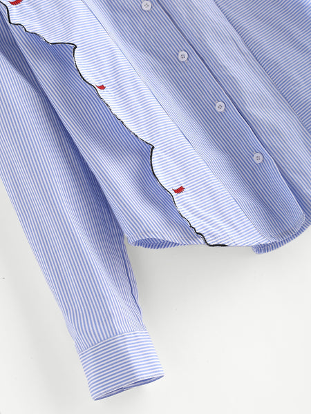 Blue Pinstripe Side Face Embroidered Detail Front Button Shirt