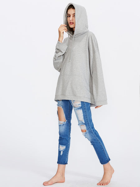 Grey Drawstring Drop Shoulder Hooded Sweatshirt