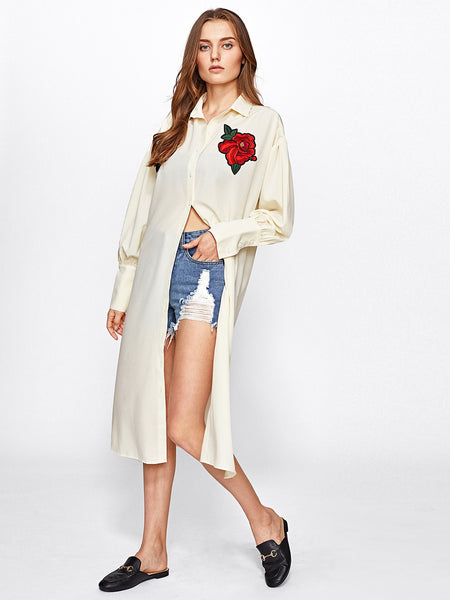 Apricot Rose Embroidered Patch Side Slit Longline Blouse
