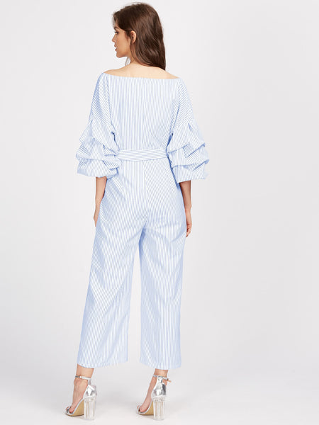Blue Striped V-Neck Drop Shoulder Gathered 3/4 Sleeve Surplice Wrap Wide Leg Jumpsuit