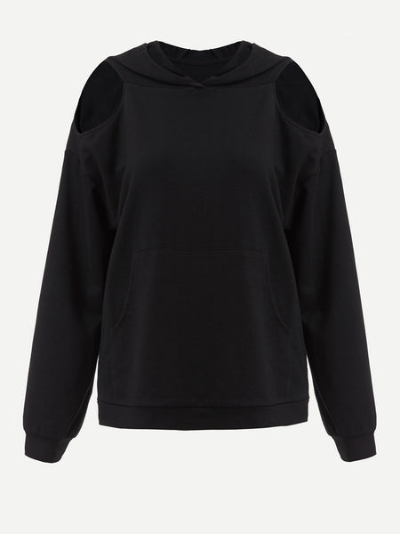 Black Drop Shoulder With Cutout And Hoodie