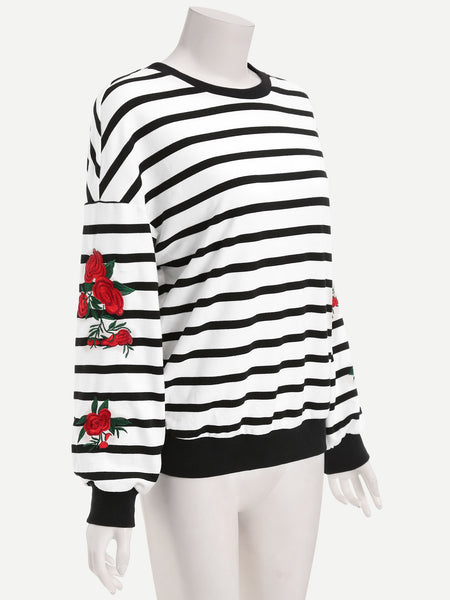 Black And White Striped Drop Shoulder Sweatshirt With Embroidered Flower