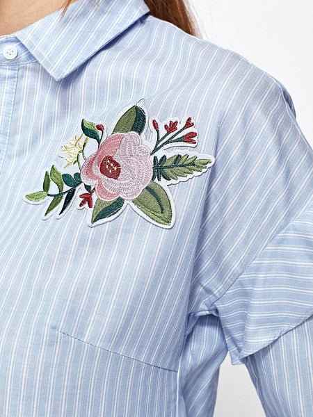 Blue Striped Flower Applique Button Front Long Sleeve Blouse