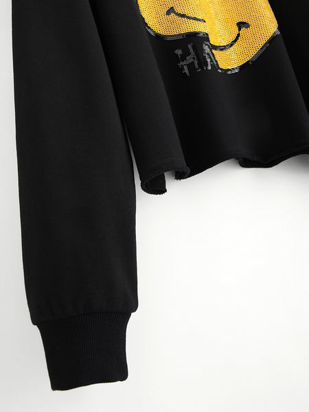 Black Detail Raw Cut Sequin Emoji Pullover