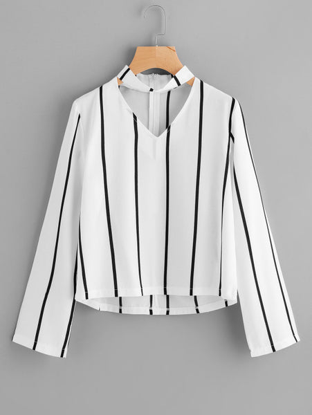 Black and White Striped Cut Out Long Sleeve Blouse