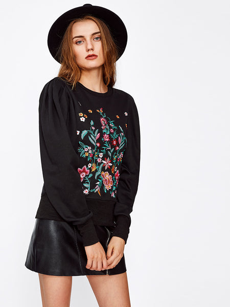 Black Floral Embroidered Puff Sleeve Sweatshirt
