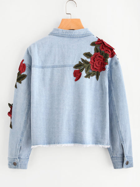 Blue Raw Hem Rose Patch Embroidered Crop Denim Jacket