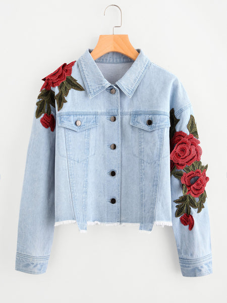 Blue Raw Hem Rose Patch Embroidered Crop Denim Jacket Lyfie