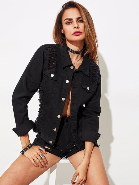 Black Slashed Draped Back Denim Jacket