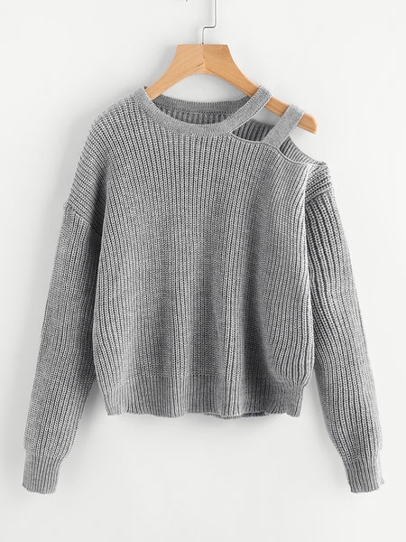 Grey Drop Shoulder Ladder Design Jumper